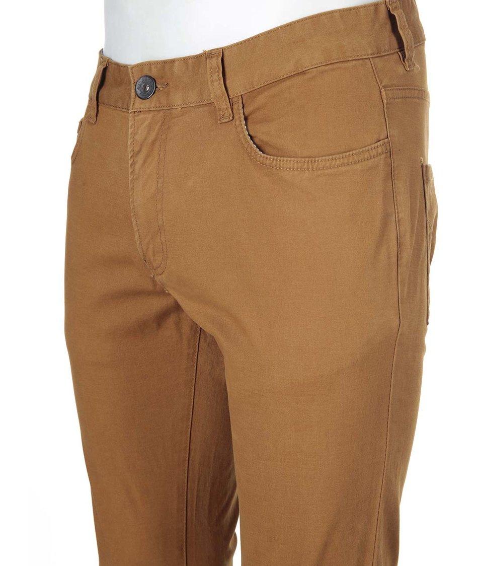 Hnědé kalhoty užšího střihu Selected Two Luca