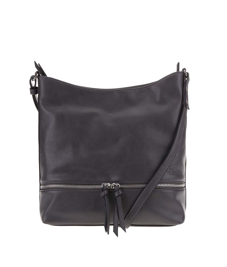 Tmavě šedá kabelka s ozdobným zipem Tom Tailor