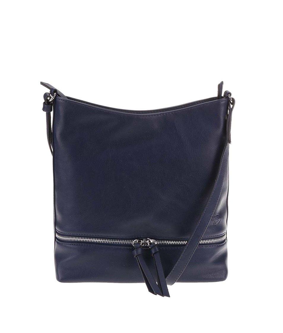 Tmavě modrá kabelka s ozdobným zipem Tom Tailor