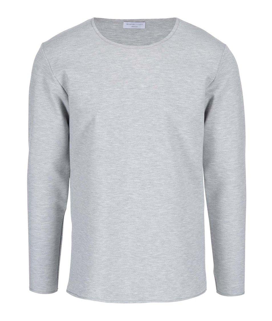 Světle šedé triko s dlouhým rukávem Selected Tanner