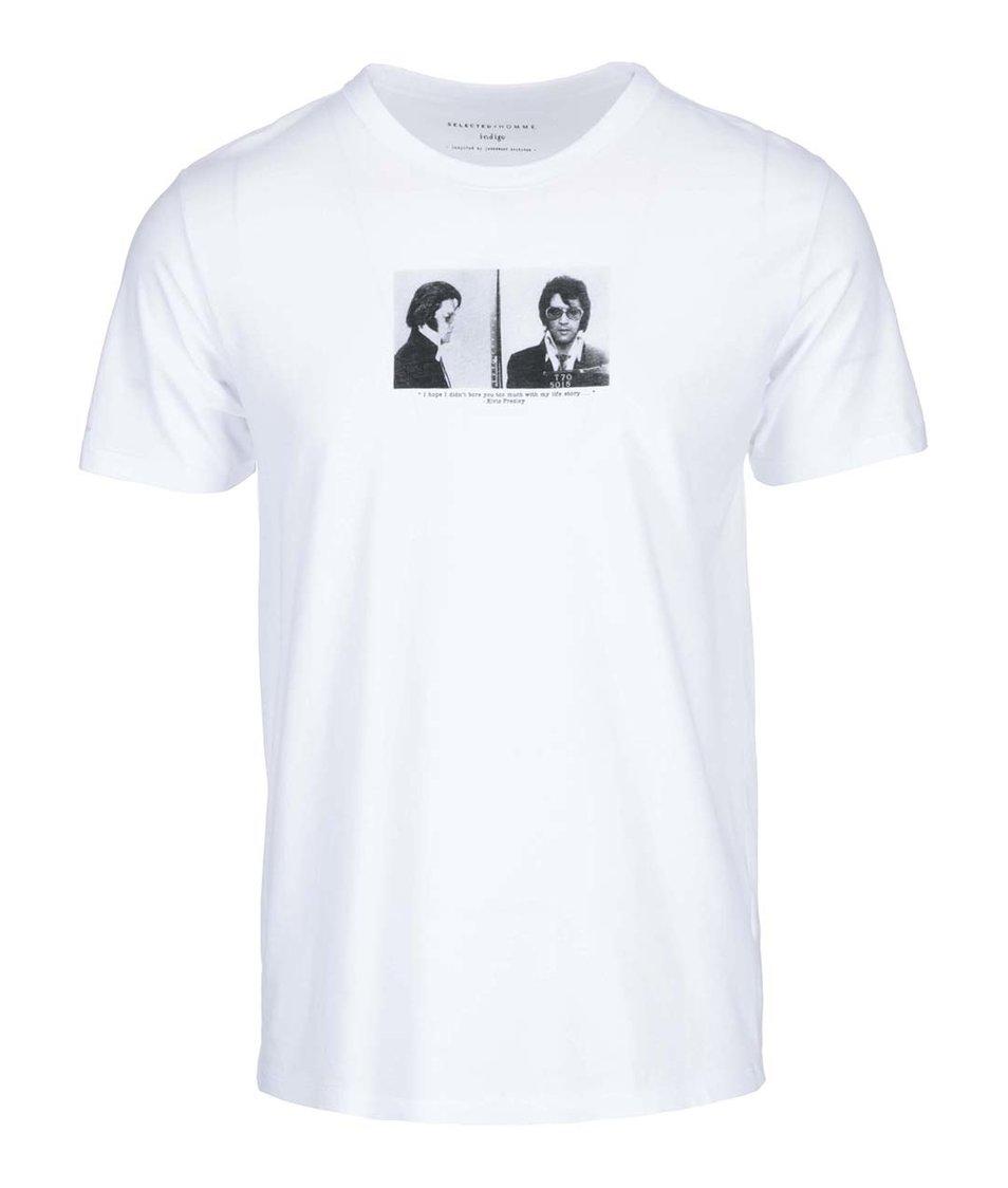 Bílé triko s potiskem Selected Elvis