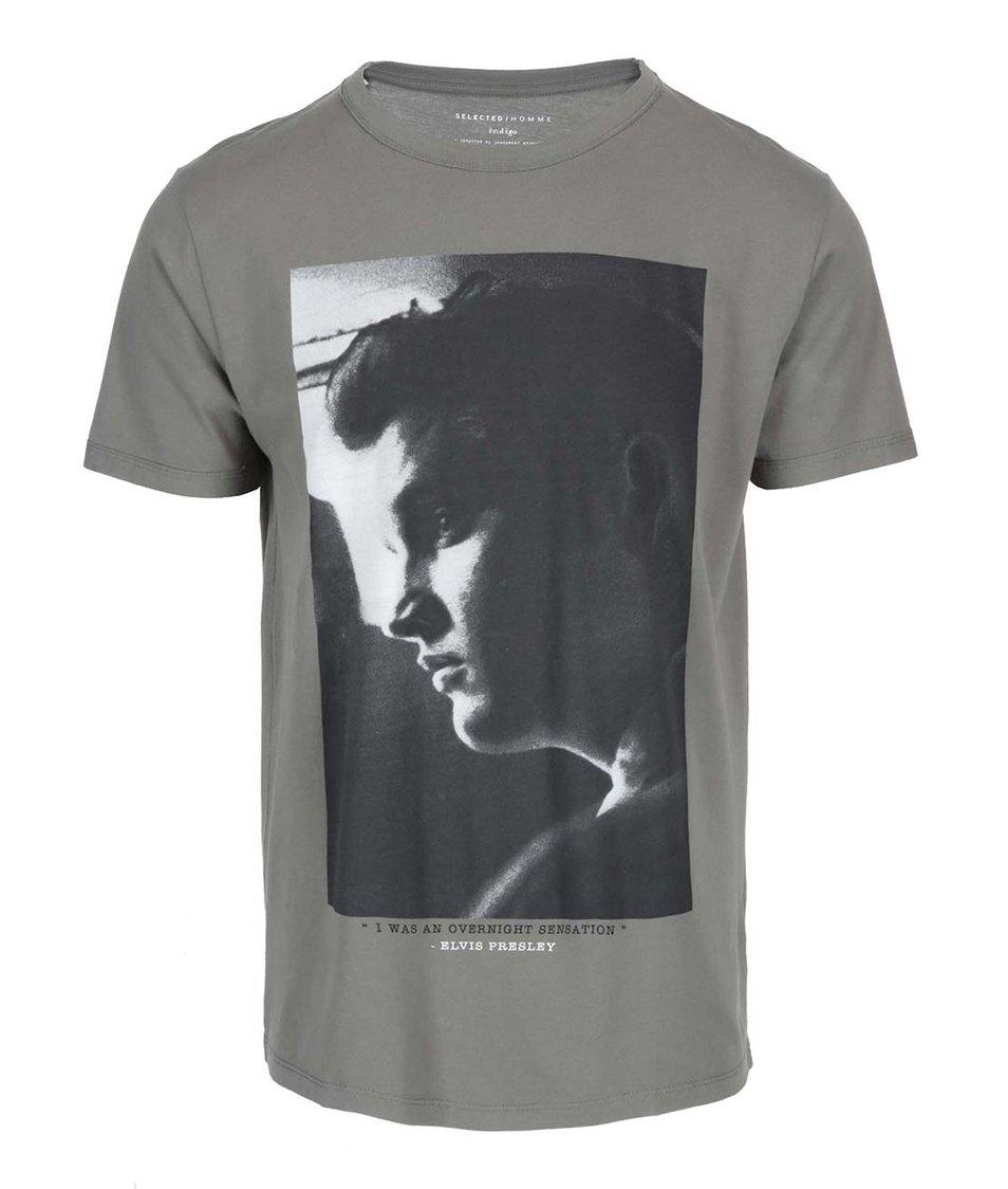 Šedozelené triko s potiskem Selected Elvis