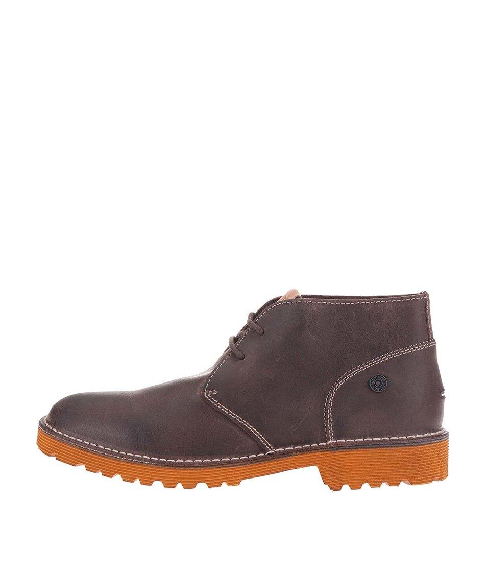 Tmavě hnědé kožené pánské kotníkové boty Tommy Hilfiger Moh