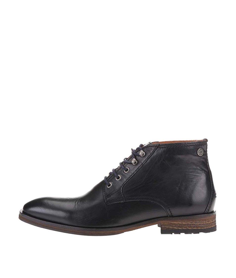 Černé kožené pánské kotníkové boty Tommy Hilfiger Dayton