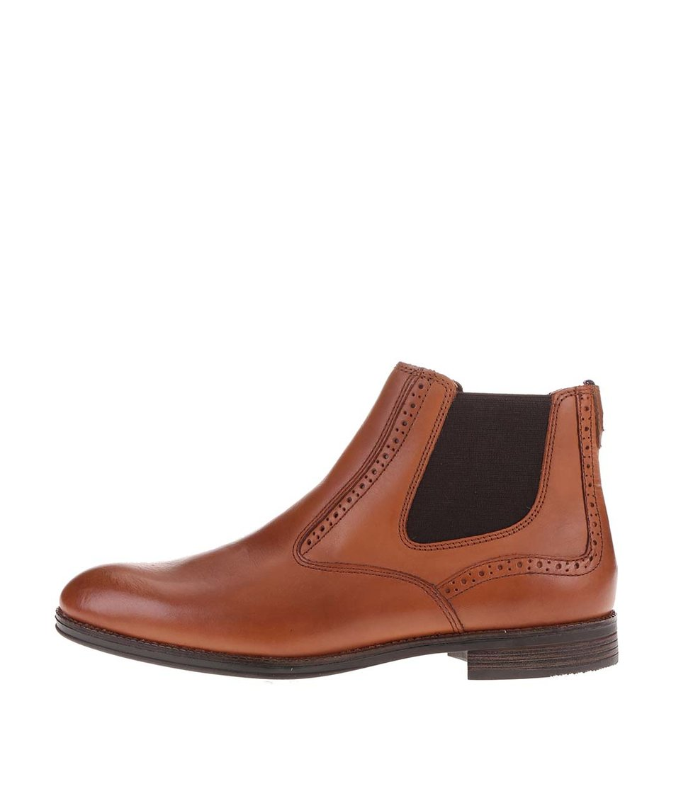 Hnědé pánské kotníkové boty s gumovou vsadkou Tommy Hilfiger Tommy Colton