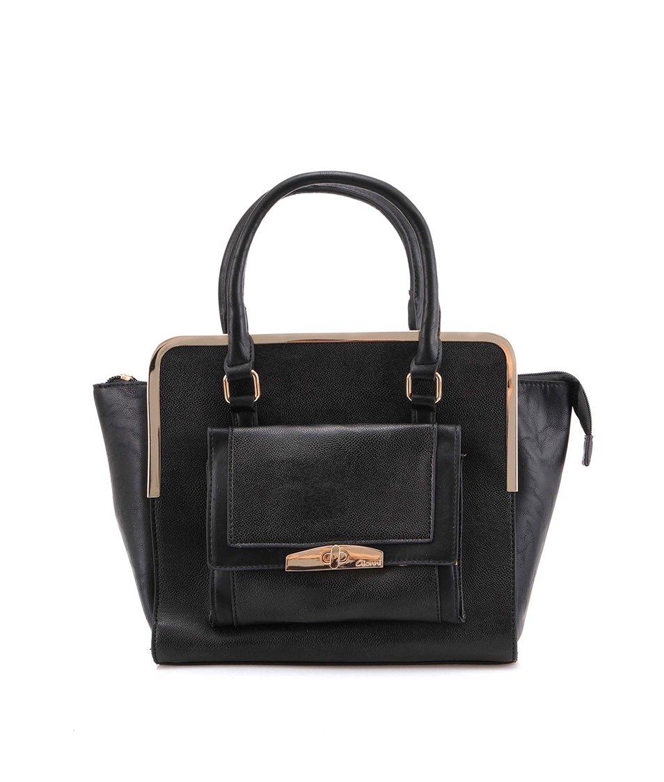 Černá elegantní kabelka se zlatou aplikací Gionni Kallie
