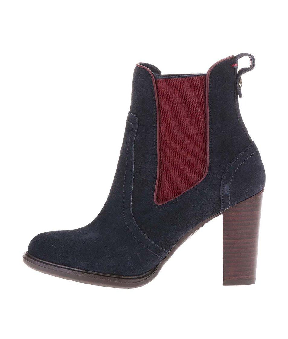 Černé kožené kotníkové boty na podpatku Tommy Hilfiger Betsy