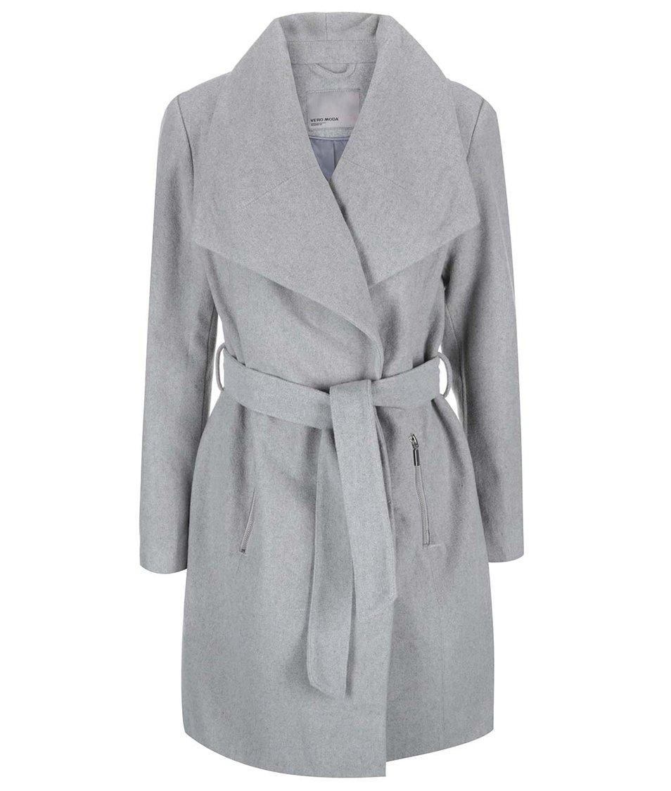 Světle šedý žíhaný kabát Vero Moda Kate