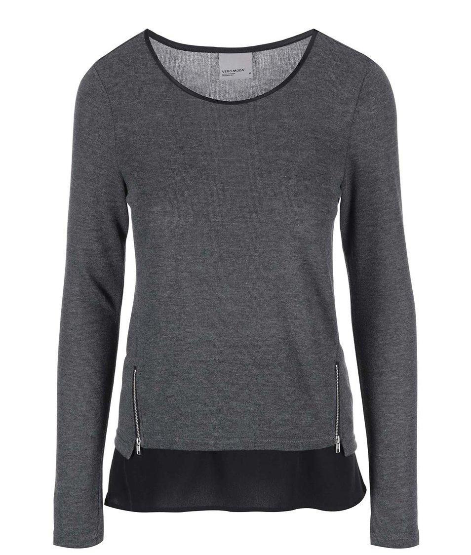 Tmavě šedé tričko s ozdobnými zipy Vero Moda Tessa