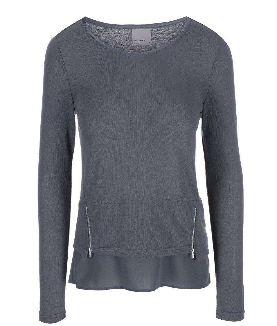 Modré tričko s ozdobnými zipy Vero Moda Tessa