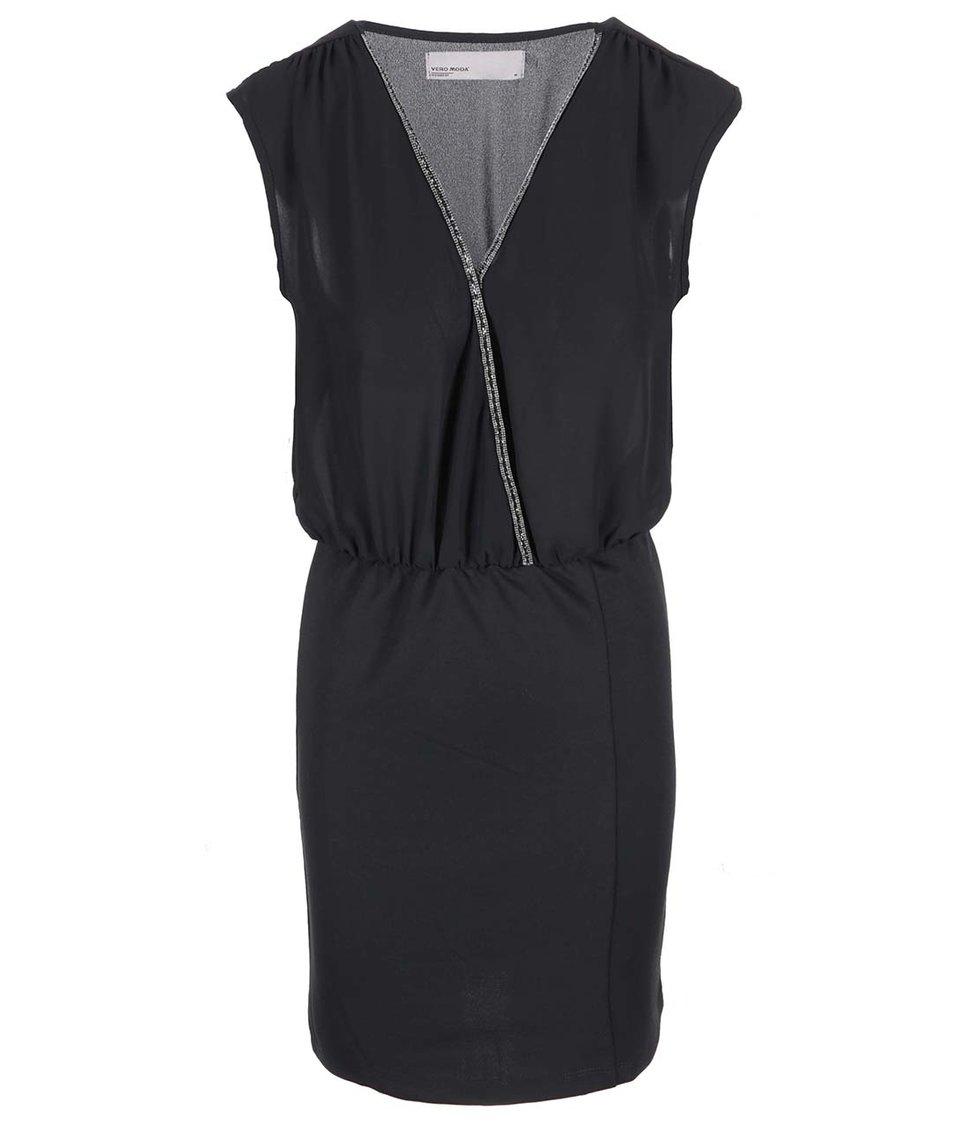 Černé šaty s třpytivým detailem Vero Moda Litta