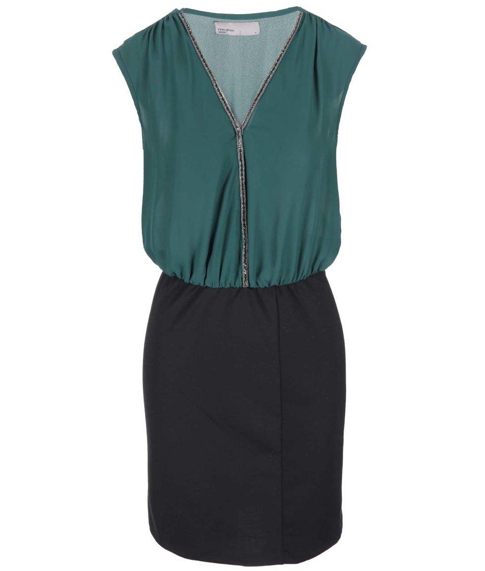 Zeleno-černé šaty s třpytivým detailem Vero Moda Litta