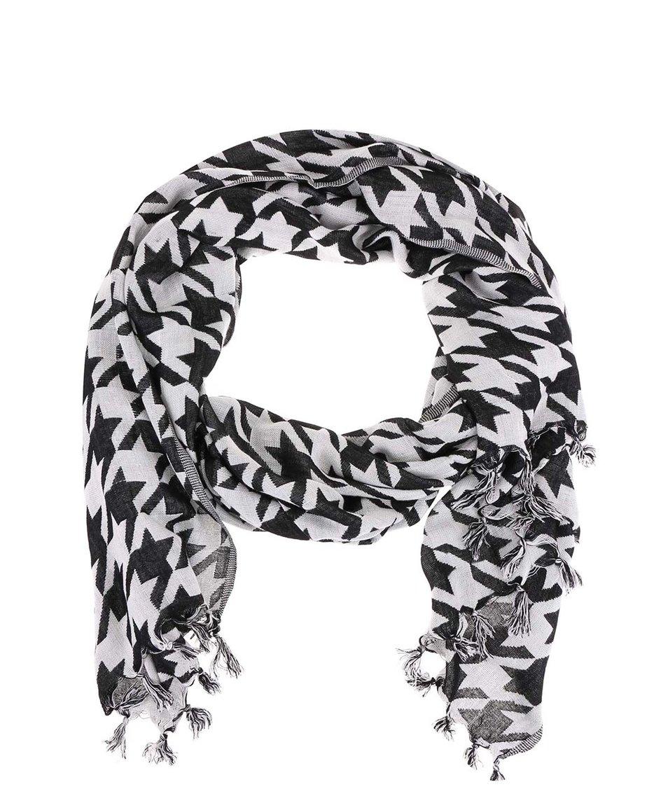 Černo-bílý vzorovaný šátek Vero Moda Stella