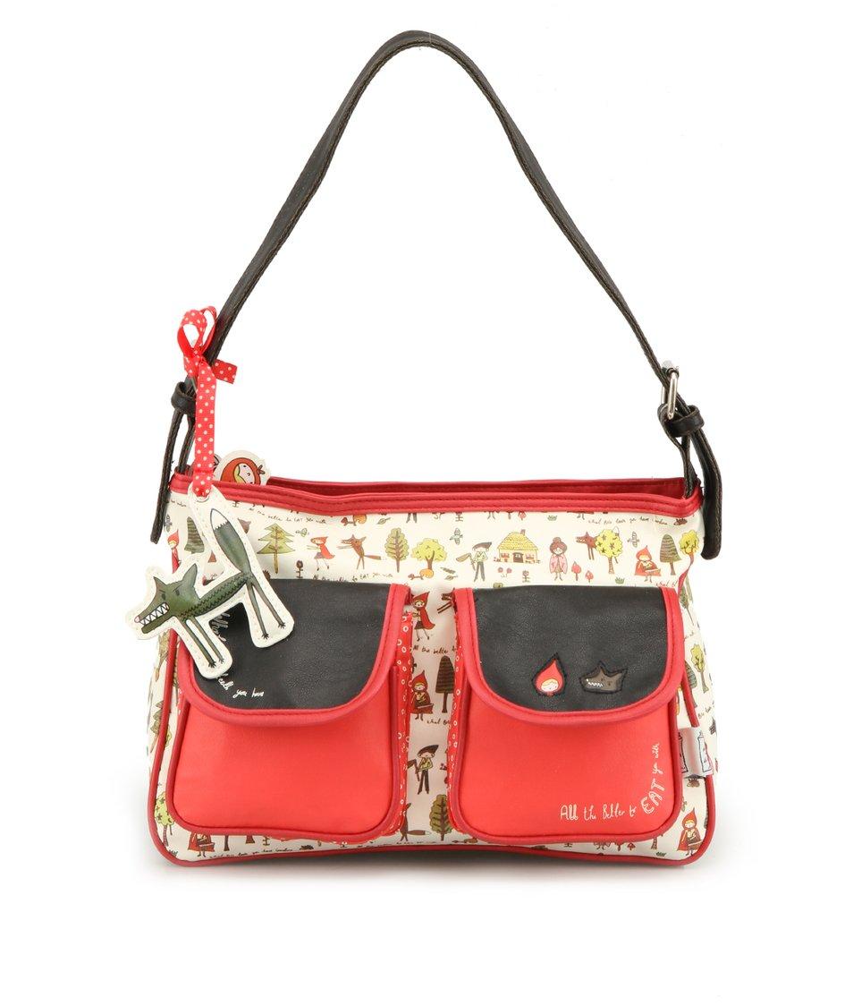 Krémovo-červená kabelka Disaster Red Riding Hood