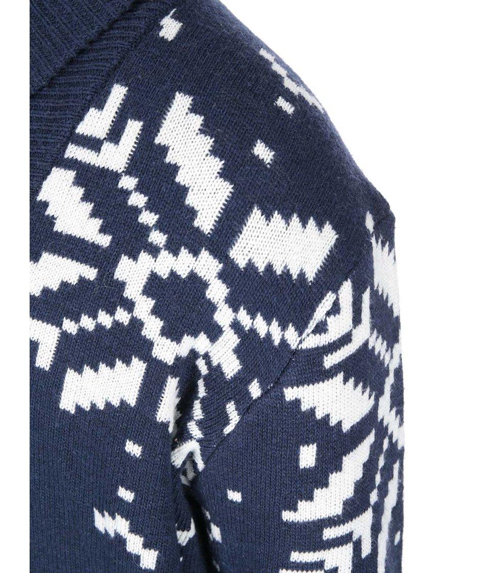 Bílo-modrý svetr se vzory vloček Bellfield Kefla