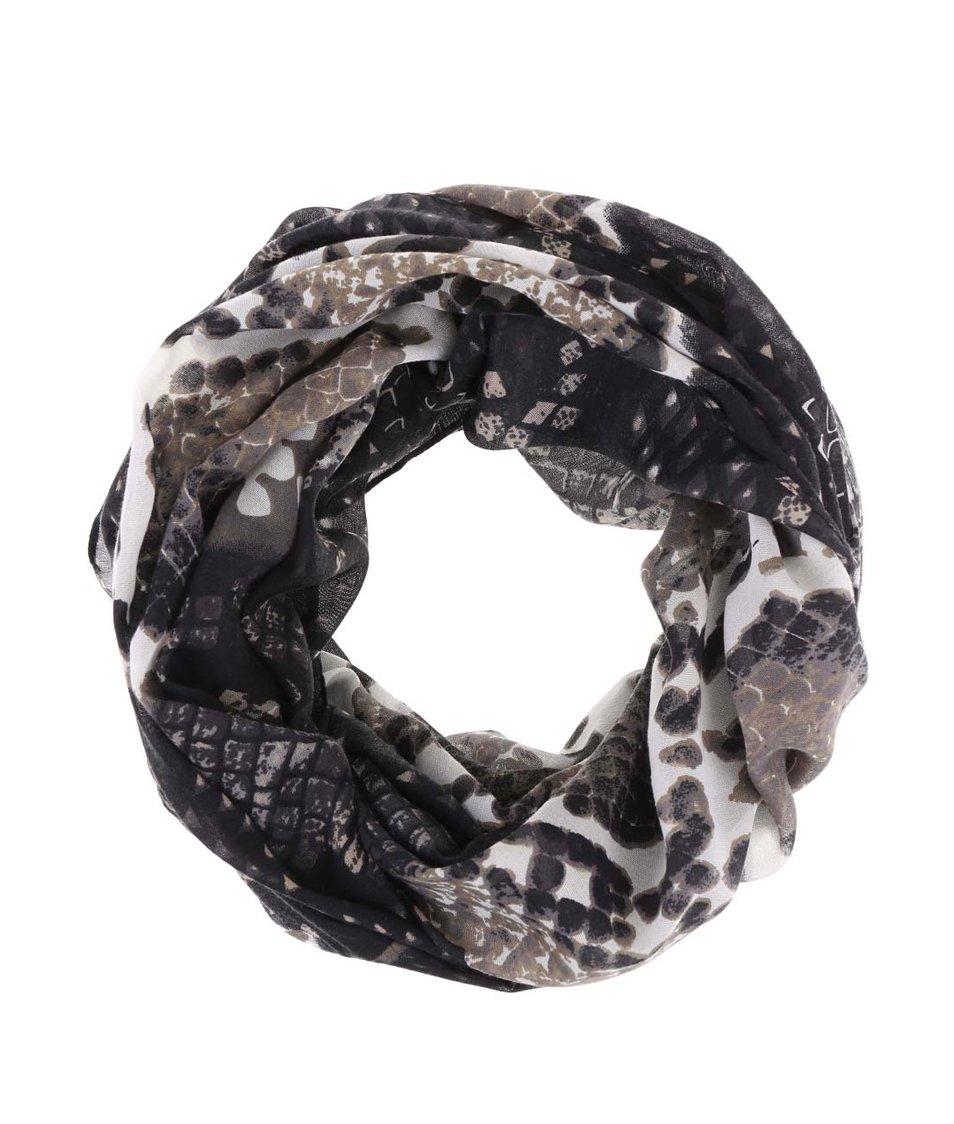 Černý dutý šátek se vzorem Pieces Vez