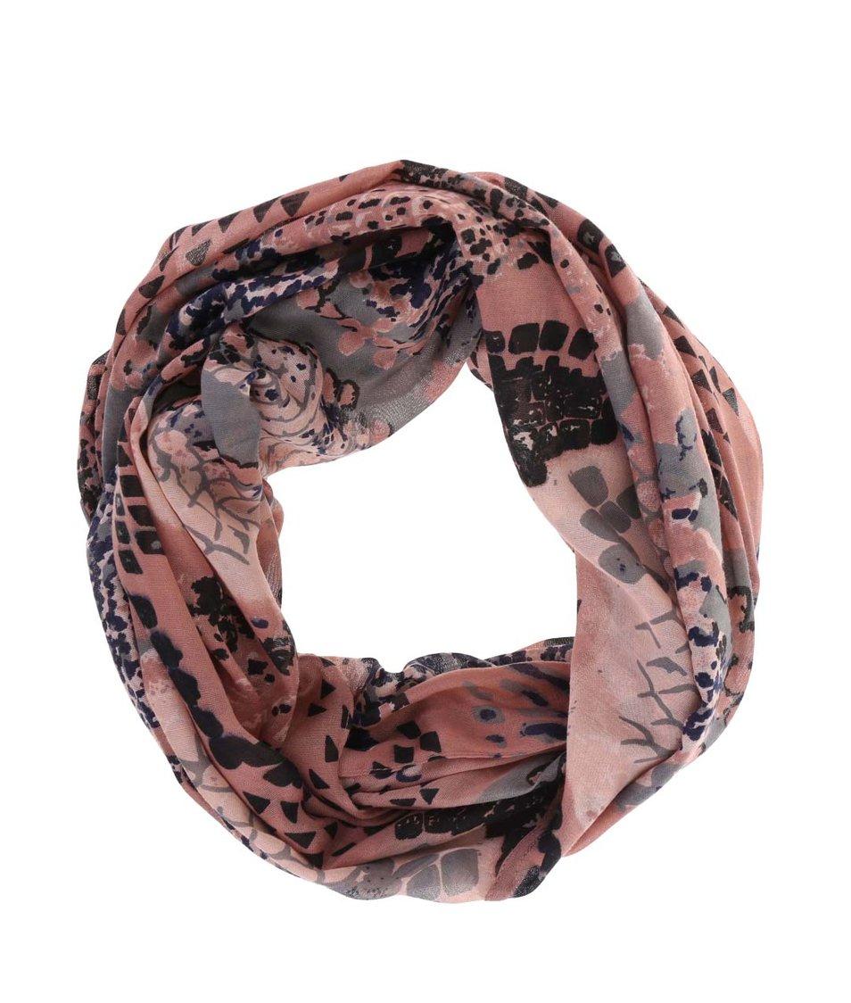 Starorůžový dutý šátek se vzorem Pieces Vez