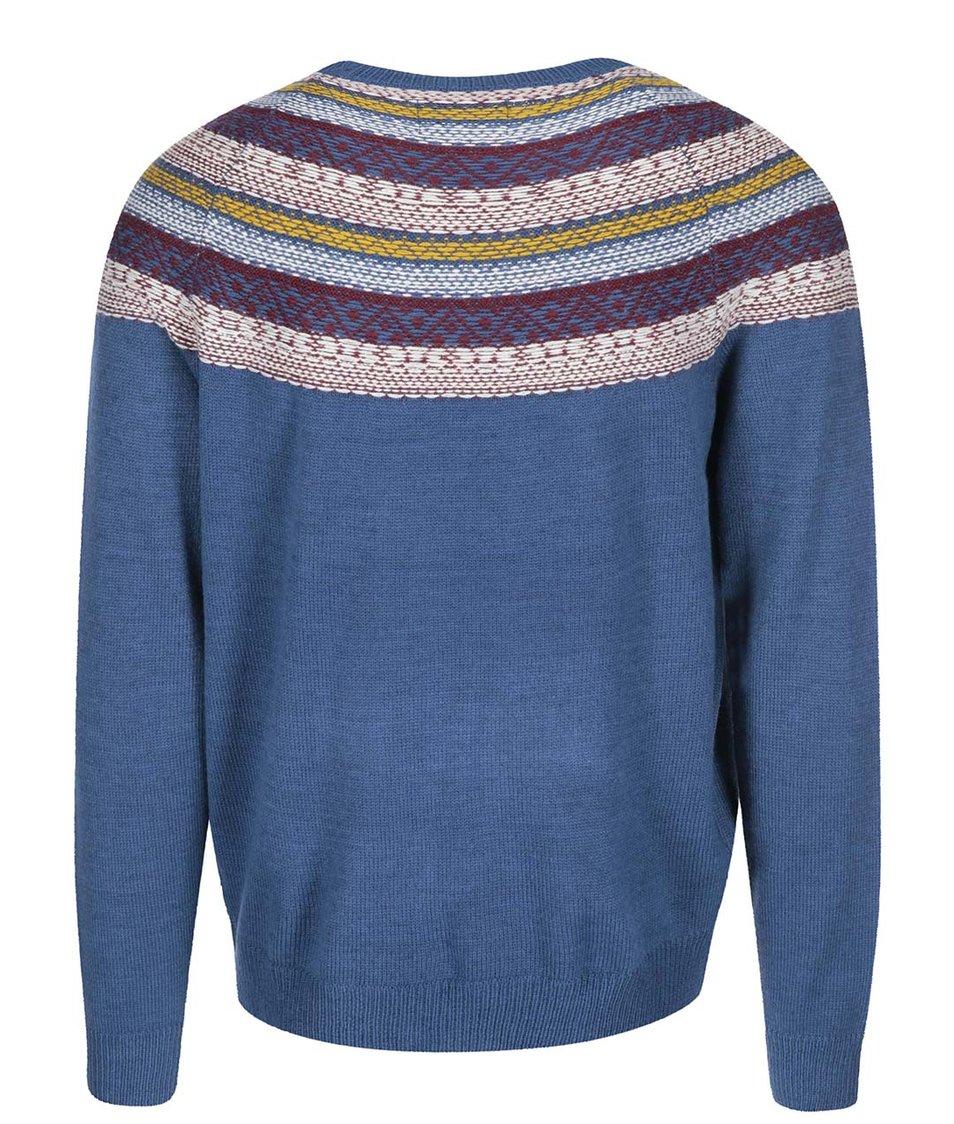 Modrý svetr s barevným vzorem Bellfield Kroka