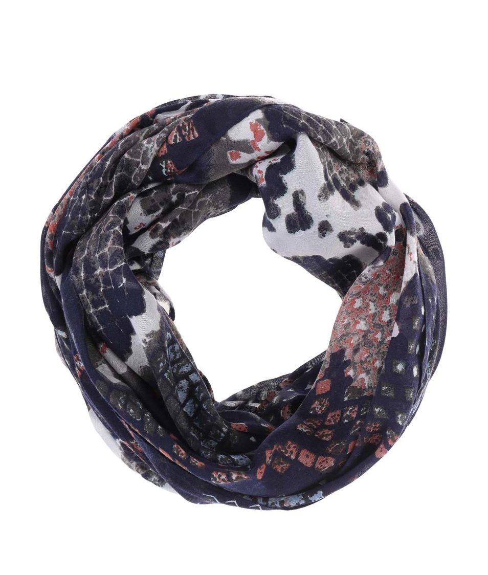 Tmavě modrý dutý šátek se vzorem Pieces Vez