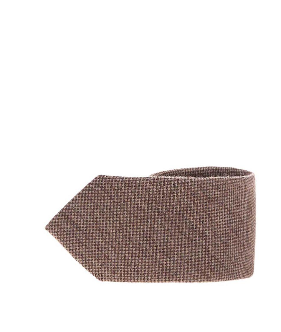 Hnědá vlněná kravata s hedvábím Portia