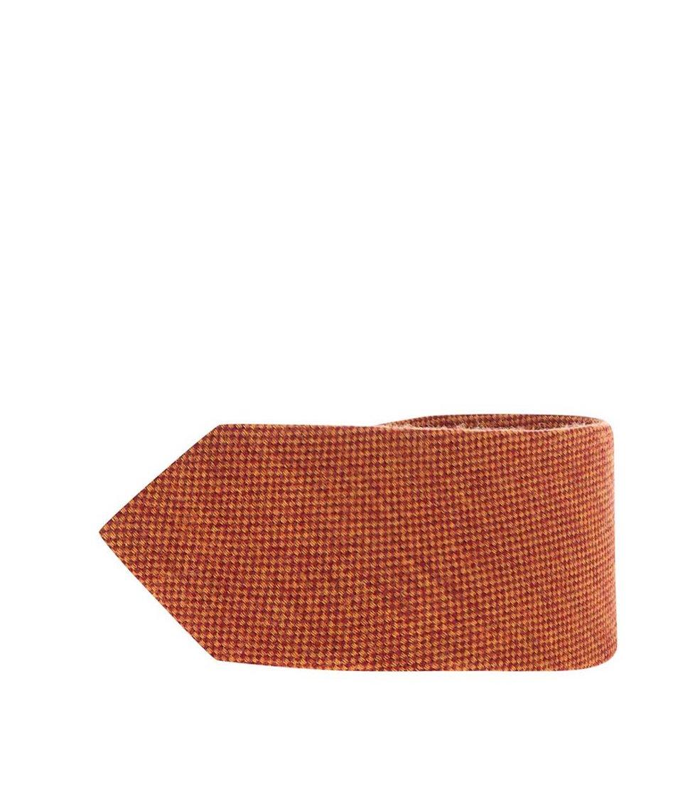 Oranžová vlněná kravata s hedvábím Portia