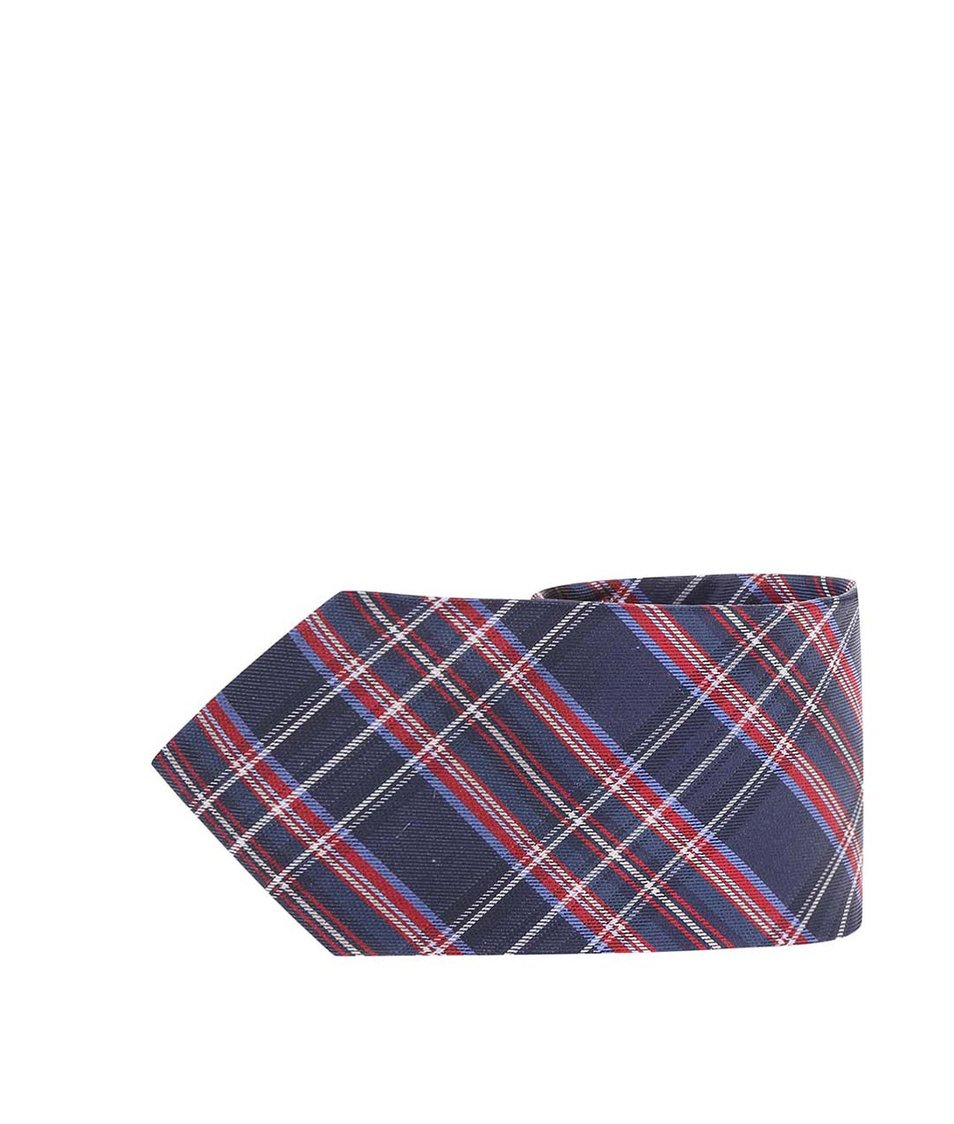 Červeno-modrá kravata z čistého hedvábí Portia