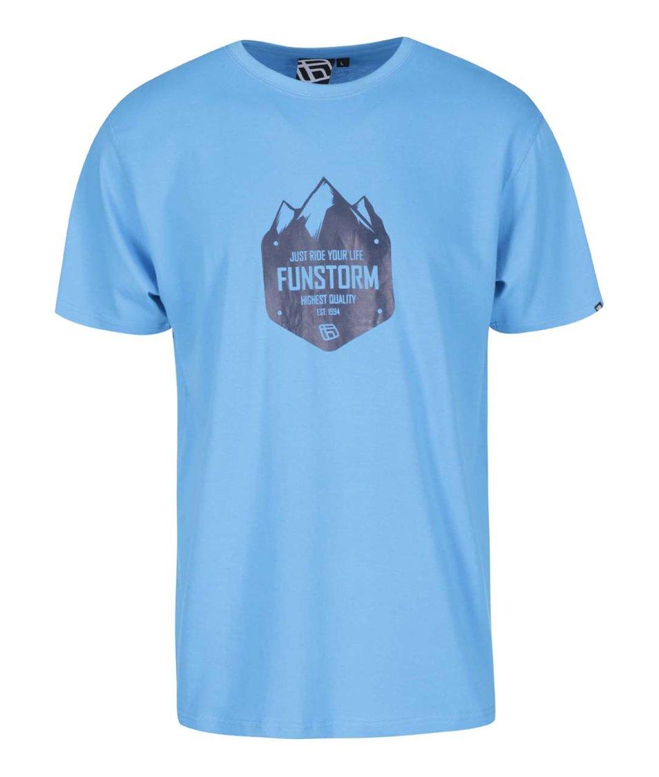 Světle modré pánské triko s potiskem Funstorm Peaks