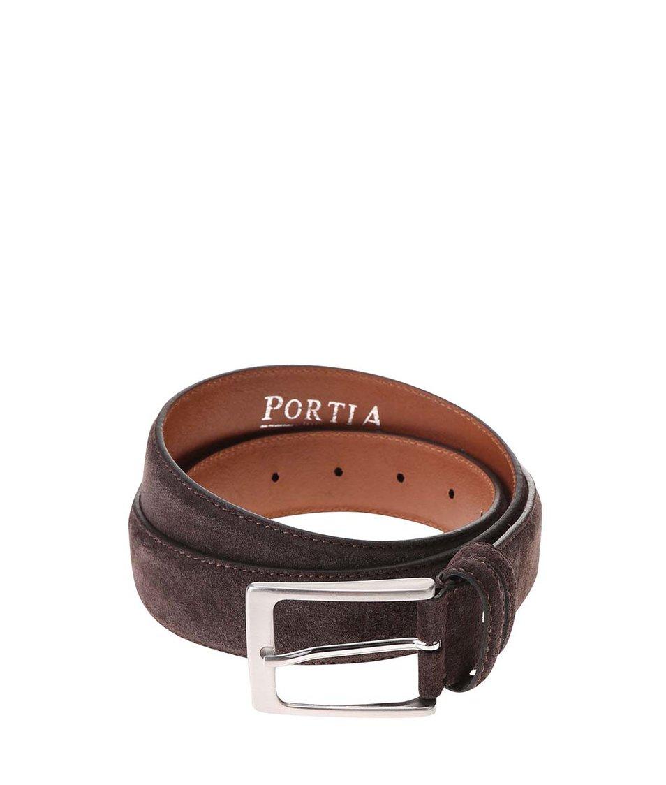 Tmavě hnědý kožený pásek Portia