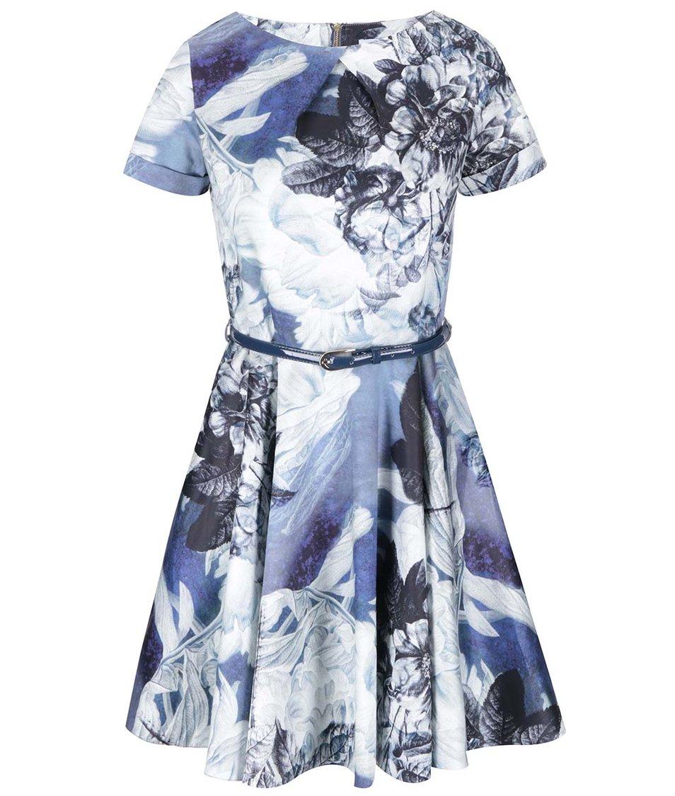Bílo-modré květované šaty s páskem Closet
