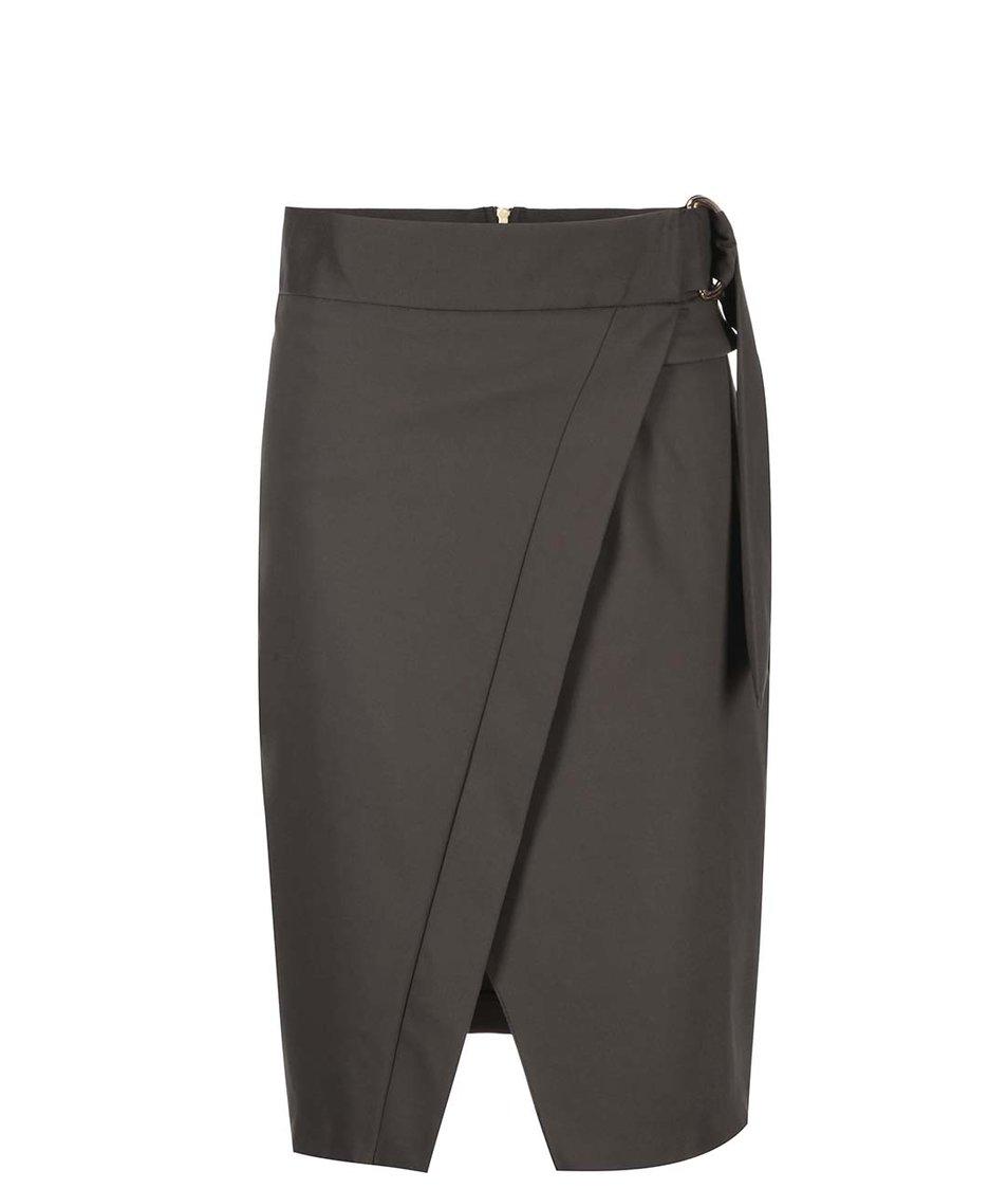 Khaki sukně s rozparkem Closet