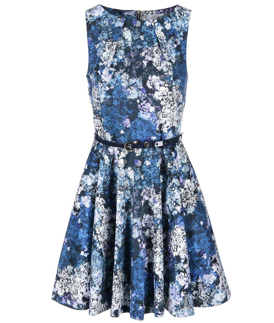 Modré květované šaty Closet