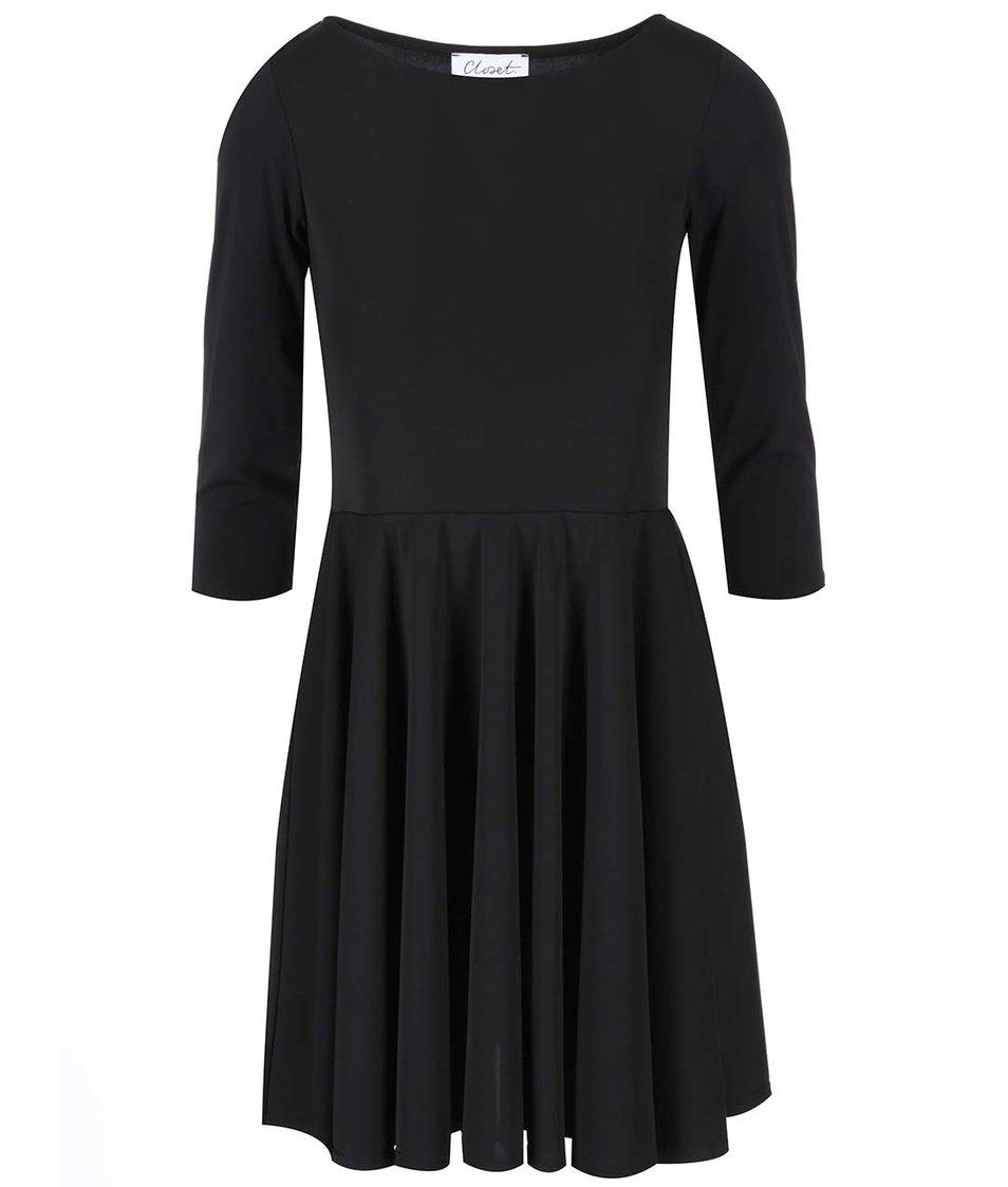 Černé šaty s 3/4 rukávem Closet