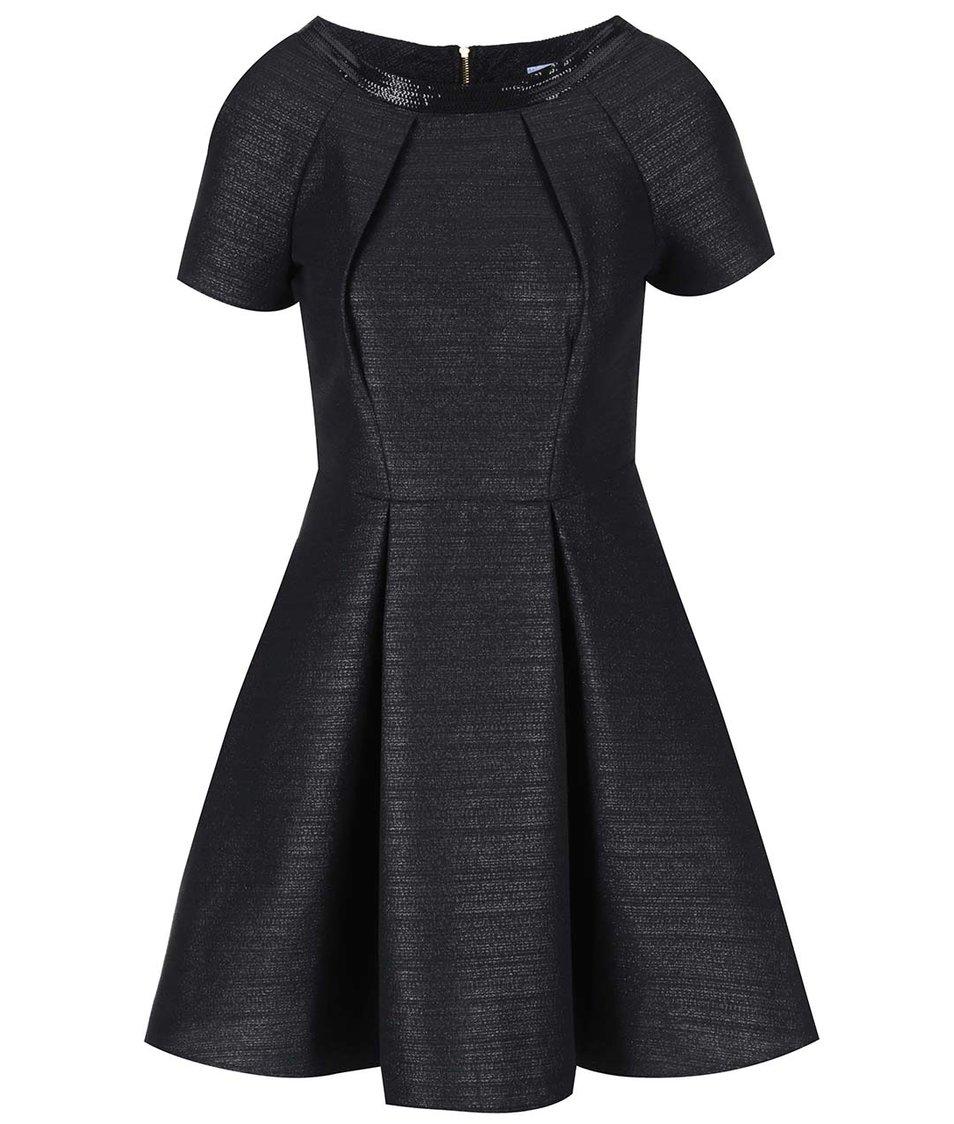 Černé metalické šaty s krátkým rukávem Closet