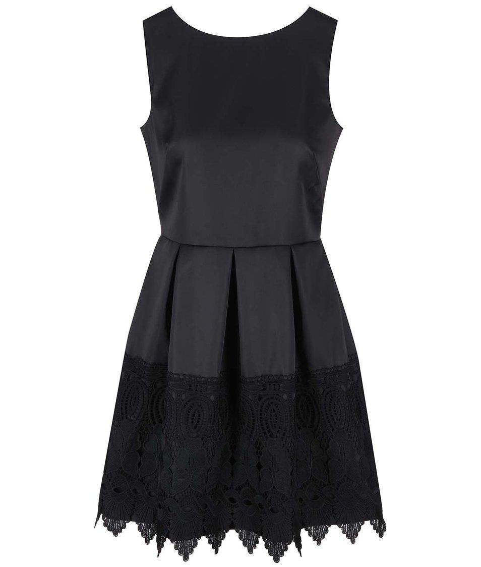 Černé šaty s krajkovaným lemem Closet