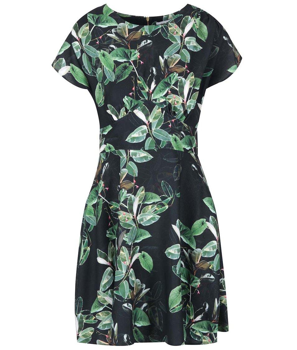 Černé šaty se zelenými listy Closet