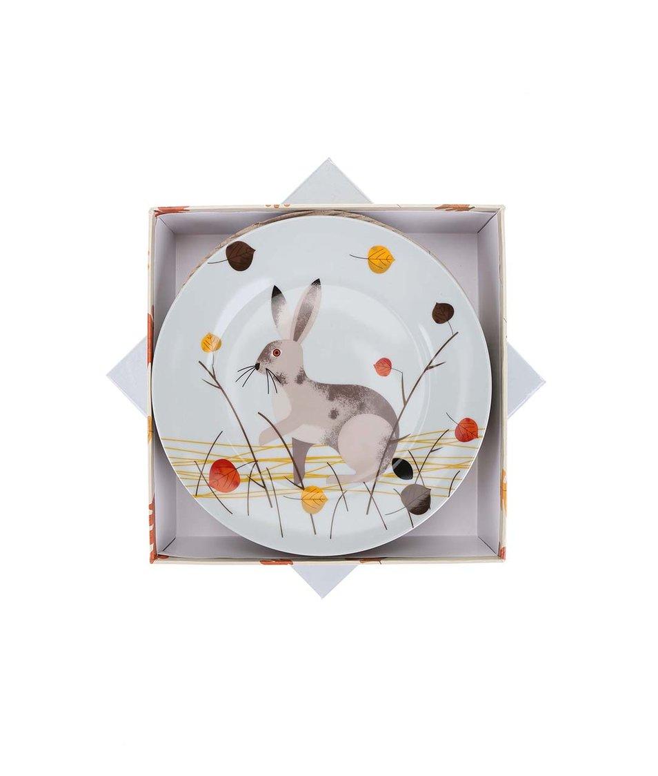 Porcelánový set čtyř barevných talířků s lesní zvěří Magpie