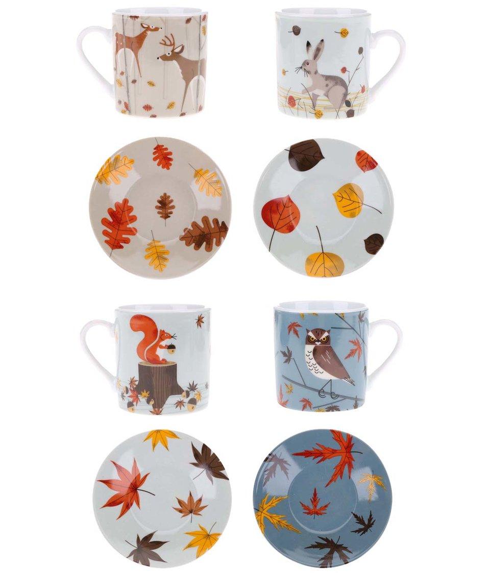 Porcelánový set čtyř barevných hrníčků a podšálků s lesní zvěří Magpie Forrest Friends