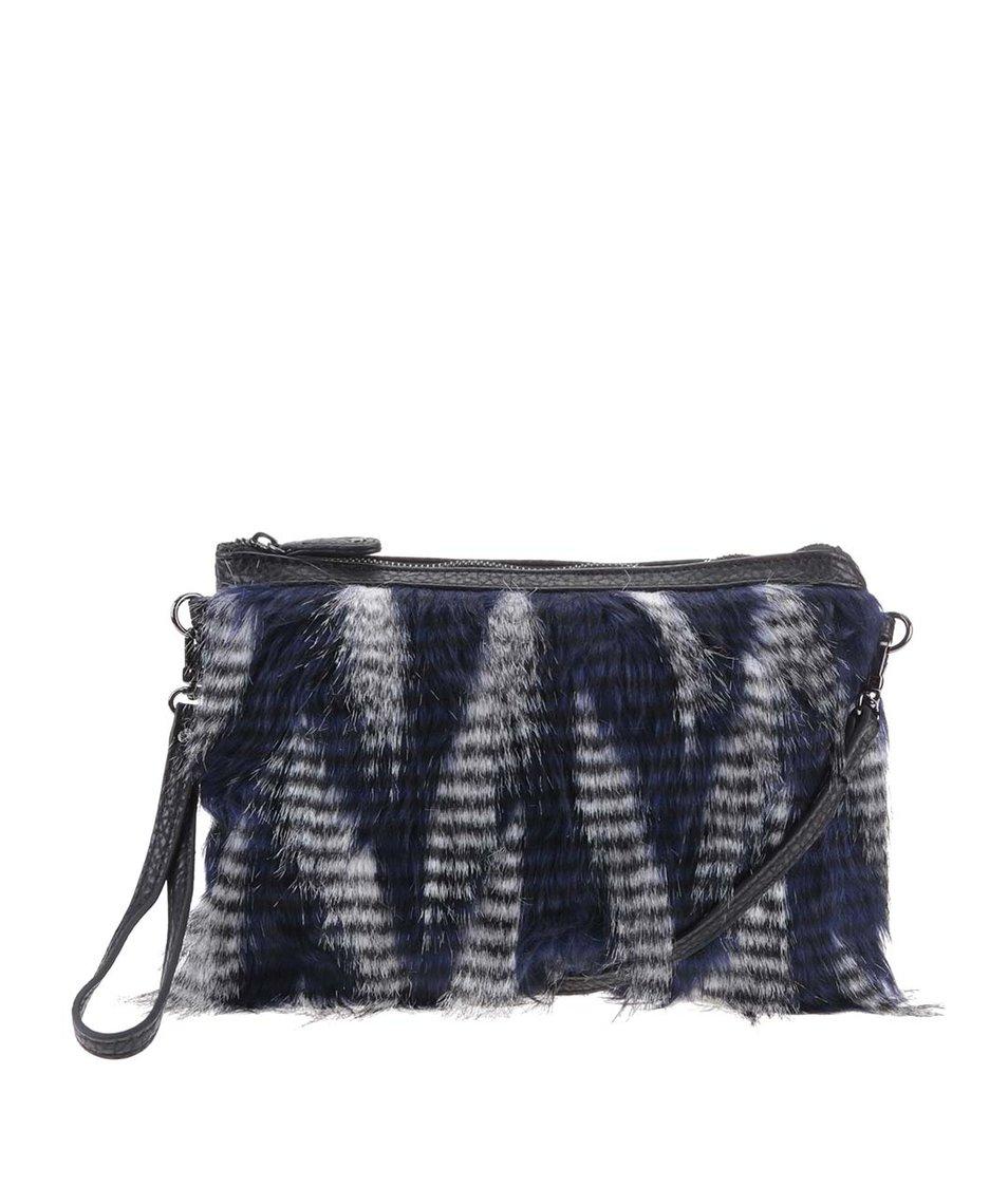 Černo-modrá menší chlupatá kabelka Pieces Valarie