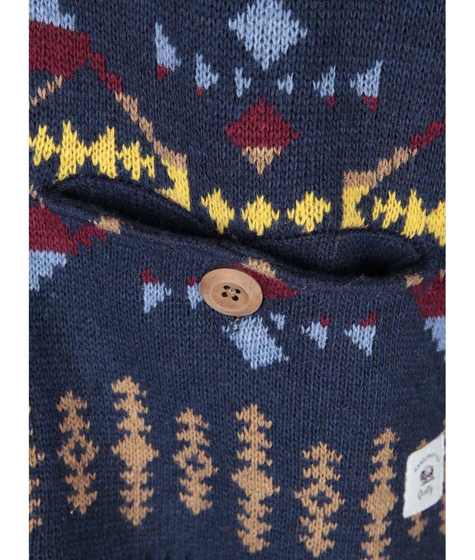 Tmavě modrý cardigan s barevnými vzory Bellfield Delson