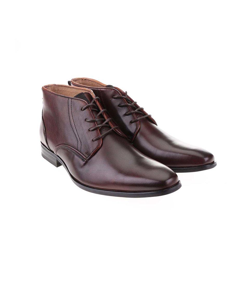 Vínovohnědé kožené kotníkové boty Dice Jackson
