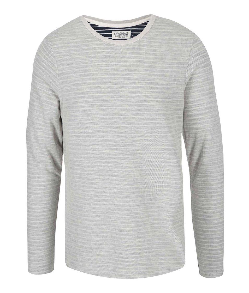 Světle šedé triko s modře pruhovaným rubem Jack & Jones Vint