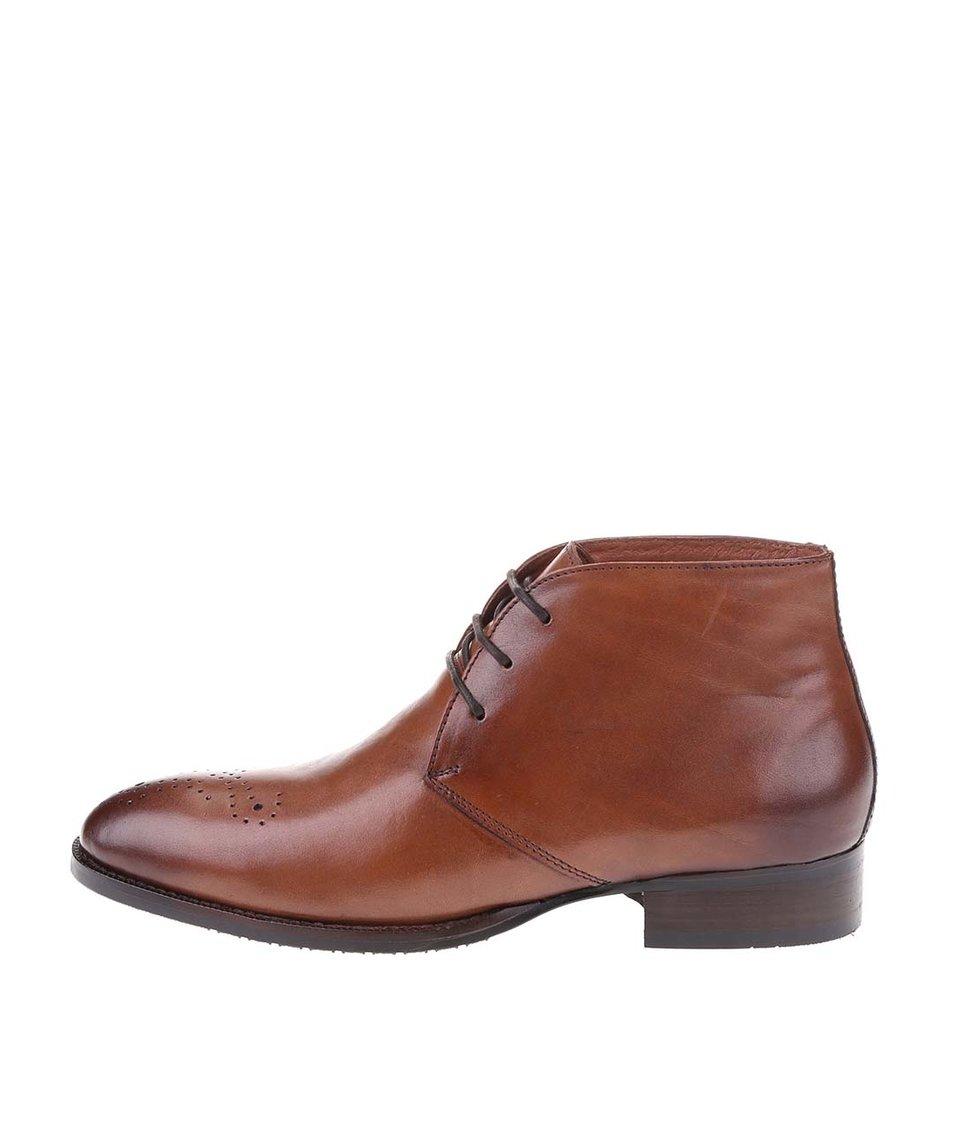 Hnědé kožené kotníkové boty Dice Rhodes