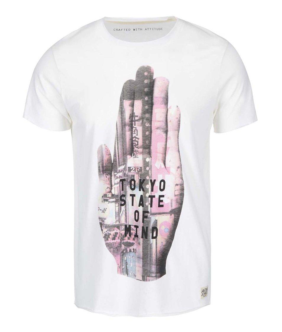 Krémové triko s krátkým rukávem a potiskem Jack & Jones Read