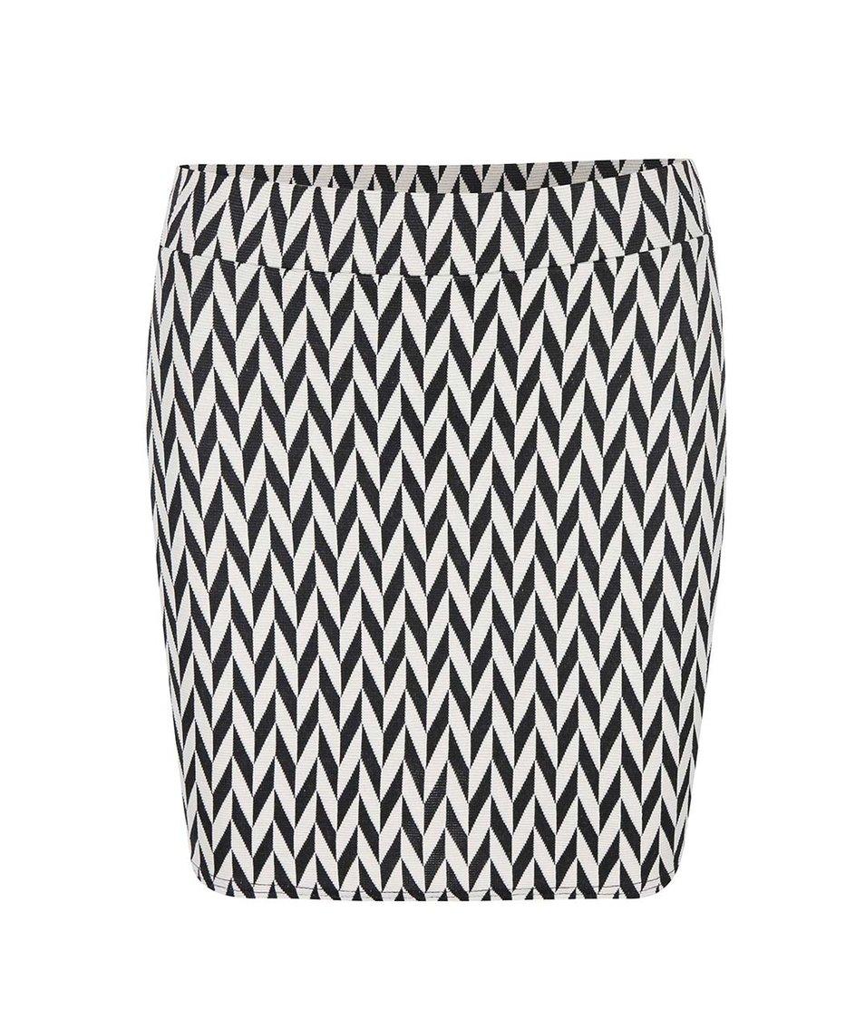 Černo-krémová vzorovaná sukně SisterS Point Singo-8