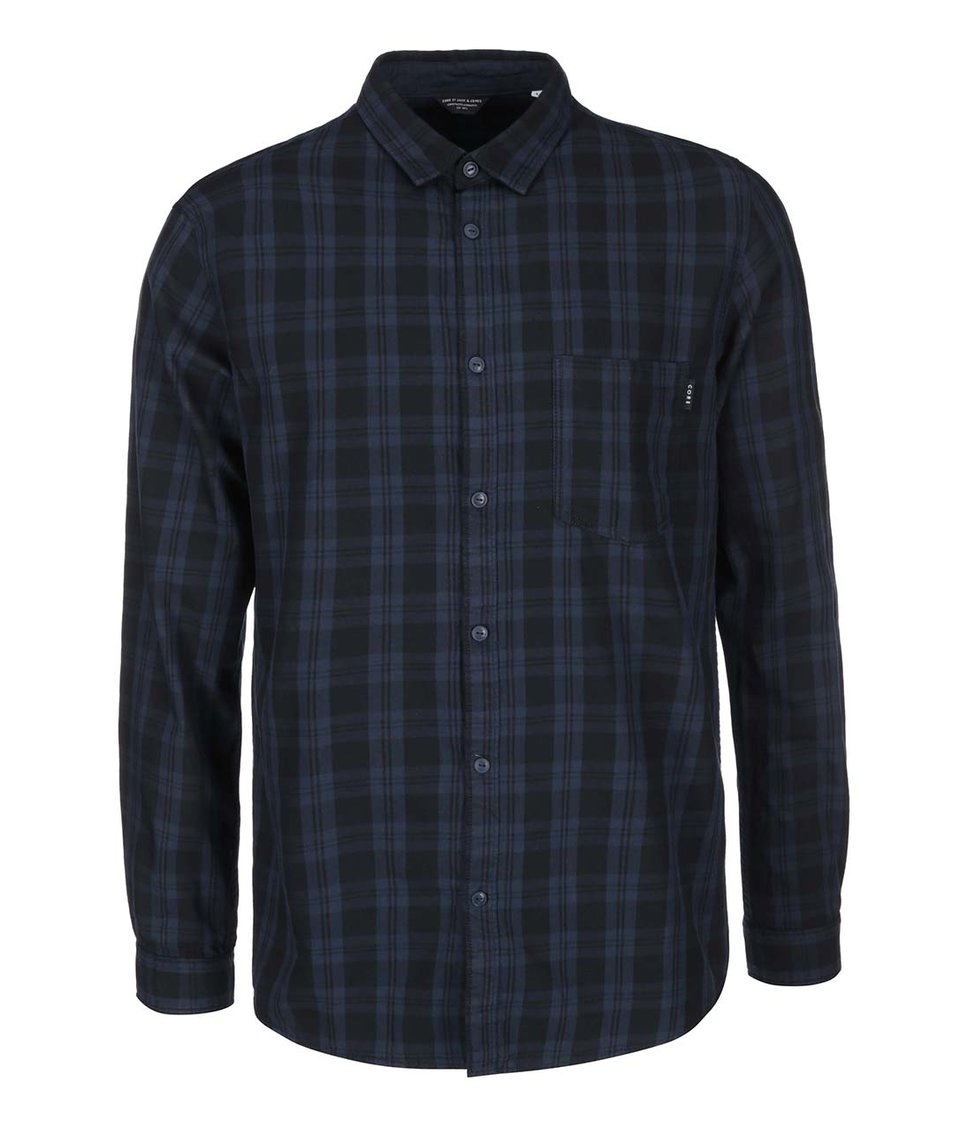 Modro-černá kostkovaná košile s dlouhým rukávem Jack & Jones Codeep
