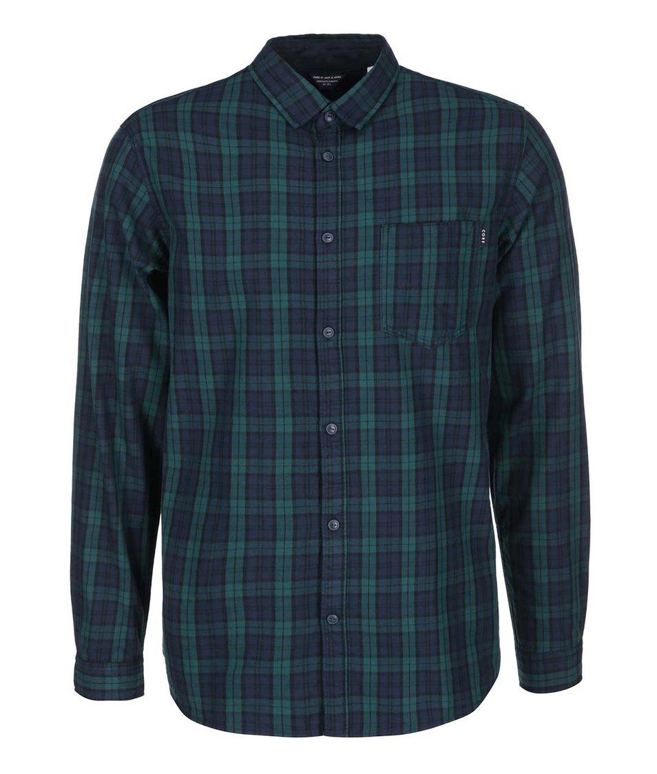 Modro-zelená kostkovaná košile s dlouhým rukávem Jack & Jones Codeep