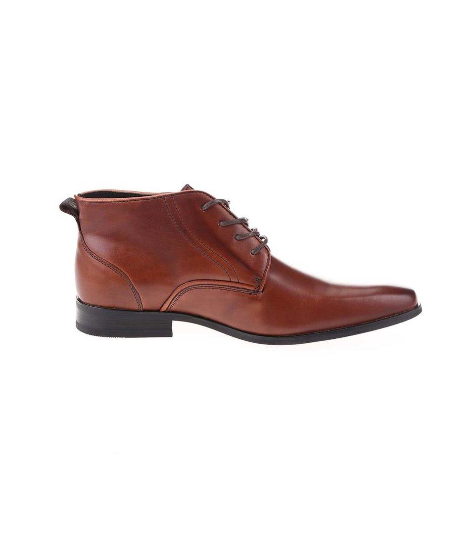 Hnědé kožené kotníkové boty Dice Jackson