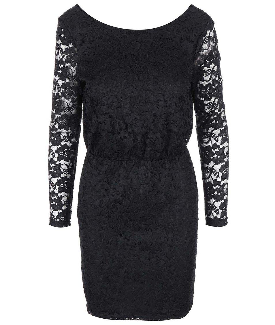 Černé krajkované šaty s dlouhým rukávem SisterS Point Vari