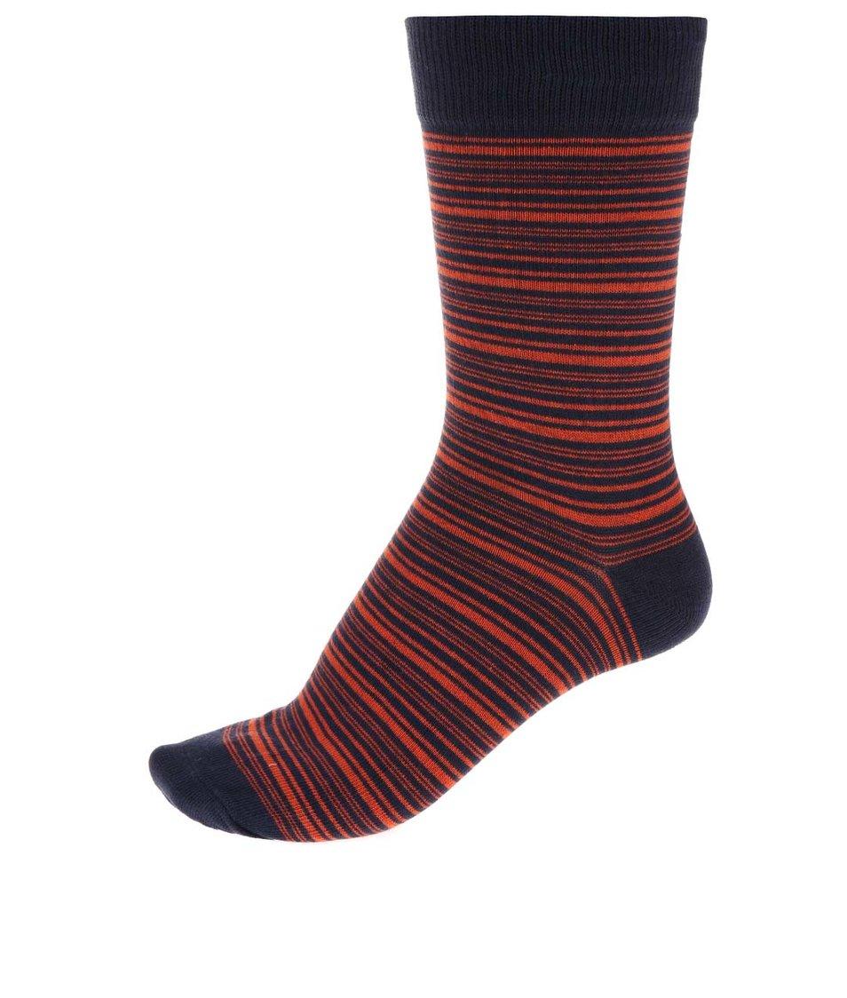 Modro-oranžové pruhované ponožky Jack & Jones Classic