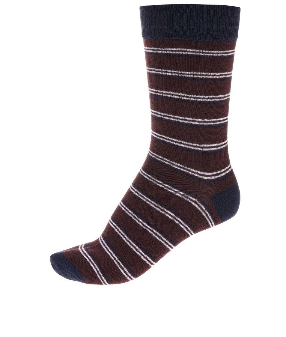 Modro-vínové pruhované ponožky Jack & Jones Classic